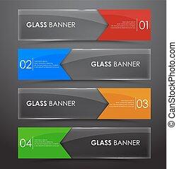 glas, banner, mit, pfeil