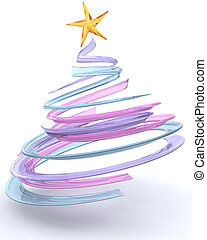 glas, baum, spirale, weihnachten