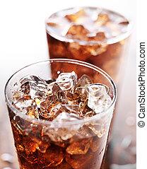 glas, becher, von, kolabaum, soda, mit, eis