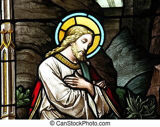 glas, befleckt, christus