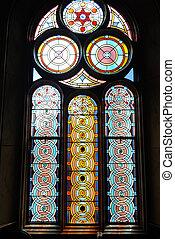 glas, befleckt, synagoge