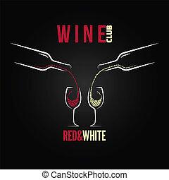 glas, begrepp, vin buteljera, meny