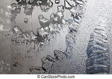 glas, bereift, winter