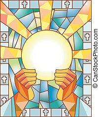 glas, bevlekte, communie
