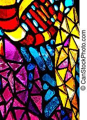 glas, bevlekte, kleurrijke, abstract.