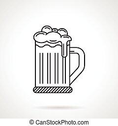 glas, bier, black , lijn, pictogram