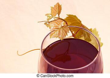 glas, bladen, druva, röd vin