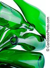glas bottelt, groene