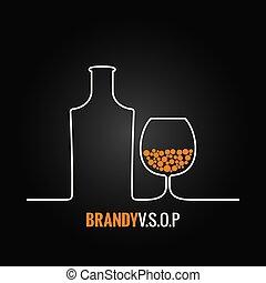 glas, brandy, flaska, bakgrund, meny