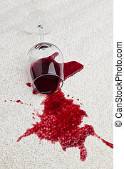 glas, carpet., smutsa ner, röd vin