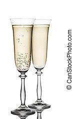 glas, champagne, closeup