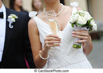 glas, champagne, holdingen, brud