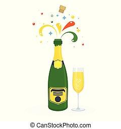 glas, champagne, ontploffing, fles