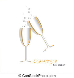glas, champagne, uitsnijden