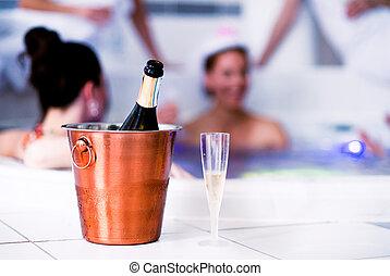 glas, champagnereimer, flasche