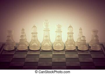 glas, chessclose, op, achtergrond
