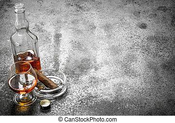 glas, cigar., kognak