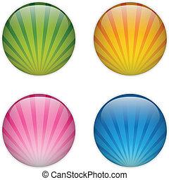 glas, cirkel, knoop, kleurrijke, strepen