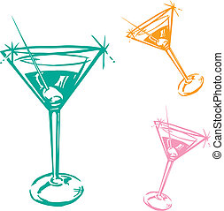 glas, cocktail, illustration