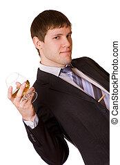 glas, cognac, zakenmens