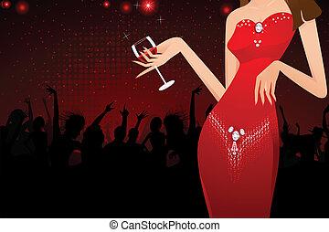 glas, dame, wijntje