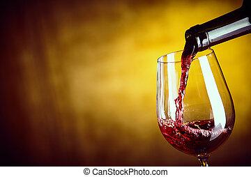 glas, dienst, rote flasche, wein