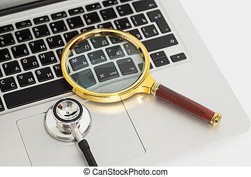 glas, draagbare computer, stethoscope, vergroten