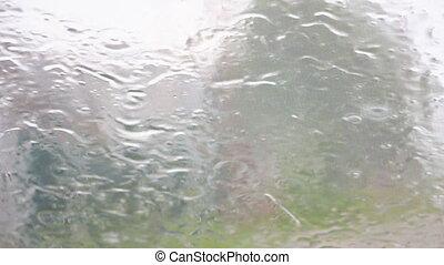 glas, druppels, regen