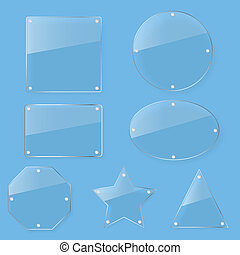 glas, duidelijk, tint, set, schaaltje