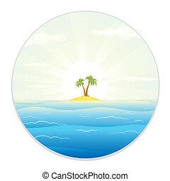 glas, eiland, aanzicht, keerkring, akker
