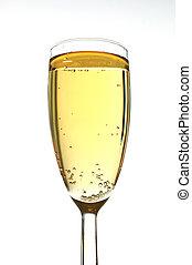 glas, enkel, champagne