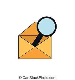 glas, enveloppe, vergroten, pictogram