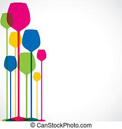 glas, färgrik, bakgrund, vin