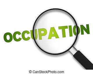 glas, -, förstorar, ockupation