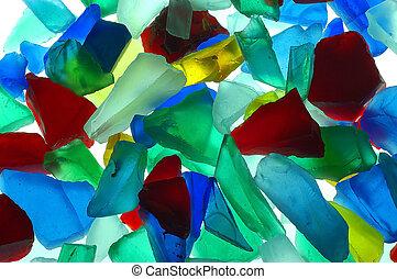glas, farvet, stykker