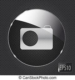 glas, fotografi knap, metal, illustration, baggrund., vektor, ikon