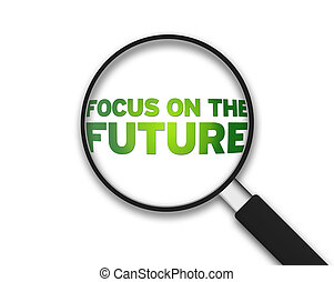glas, framtid, -, fokusera, förstorar