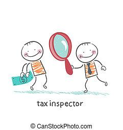glas, geld, belasting, het kijken, persoon, inspecteur, vergroten