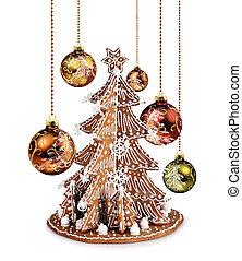 glas, gelul, boompje, kerstmis, peperkoek