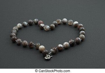 glas, gemaakt, armband, beads.