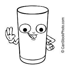 glas, gezegde, hallo, onschuldig, spotprent