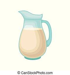 glas, gezonde , vegan voedsel, dieet, melk, bron, vector, illustratie, achtergrond, soy, witte , kruik, proteïne