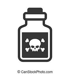 glas, gift, hintergrund., vektor, flasche, weißes, ikone