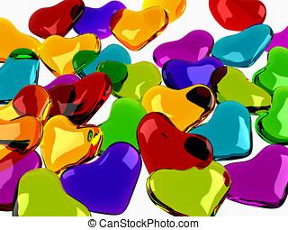 glas, glänsande, hjärtan