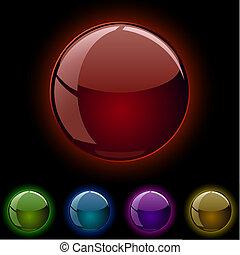 glas, glødende, spheres