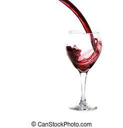 glas, het gieten van rode wijn