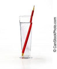 glas, innenseite., pensil, wasser, groß, rotes