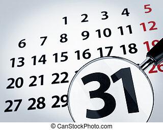 glas, kalender, vergrößern