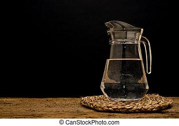 glas, kanna, med, vatten