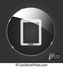 glas, knap, metal, illustration, baggrund., vektor, pad, ikon